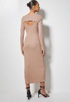 VELVET - Brushed rib cut-out column midi dress - mink