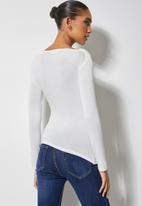 VELVET - Drape front soft touch top-milk