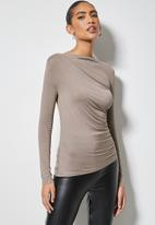 VELVET - Drape front soft touch top - taupe