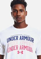 Under Armour - Ua multi color collegiate short sleeve tee - white