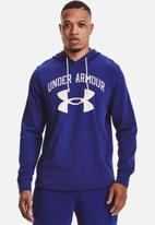 Under Armour - UA rival terry big logo hoodie - blue