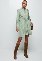 MILLA - Tie detail collar mini dress - light green