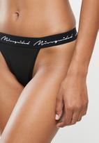 Missguided - Signature mesh thong - black