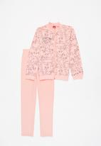 Bee Loop - Girls printed sweat top & sweatpants set - pink