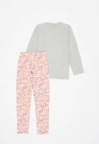 Bee Loop - Girls puppy sweatshirt & sweatpants set - grey & pink