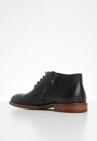 POLO - Dylan leather distressed lace up boot - black