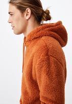 Cotton On - Drop shoulder teddy fleece hood - rust