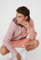 Cotton On - Panelled fleece hoodie - burgundy & pink