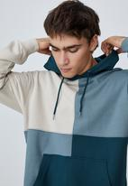 Cotton On - Panelled fleece hoodie - teal & neutral