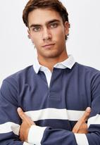 Cotton On - Rugby long sleeve polo - navy & white