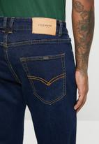 Jonathan D - 5 pocket relaxed tapered fit denim jeans - ink blue