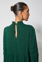 VELVET - Peached pintuck babydoll dress with pie crust neckline- botanic garden