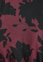 VELVET - Drawstring side ruched knit dress - black floral