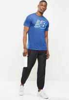 New Balance  - Tenacity heather tech short sleeve print - blue