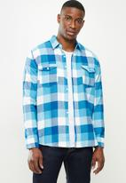 JEEP - Hartley flannel yd long sleeve check shirt - blue