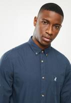 POLO - Jason plain long sleeve signature shirt - navy