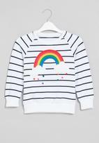 POP CANDY - Girls stripe rainbow crewneck - white & navy