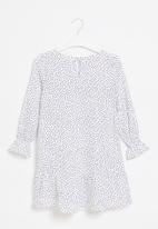 Superbalist Kids - Younger girls peplum dress - white & black spot