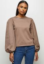 MILLA - Woven knit combo sweatshirt - cognac