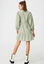 Cotton On - Woven zerha long sleeve smock mini dress - sage