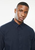 JEEP - Seth plain long sleeve easy iron oxford shirt - navy