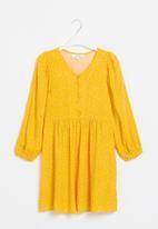 Superbalist - Girls button through dress - mustard/white spot