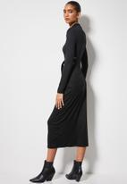 VELVET - Cut out turtle neck midi column dress - black
