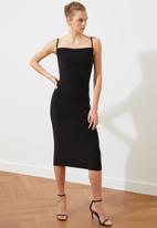Trendyol - Siyah scarf collar knitted dress - black