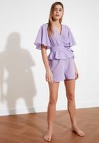 Trendyol - Lila tied woven pajamas set - lilac