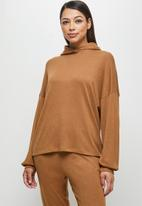 edit - Long sleeve oversized hooded top - tobacco