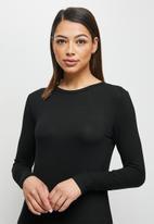 edit - Conscious ballet sleeve scoop neck slit midi - black