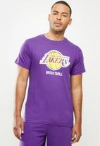NBA - Lakers icon logo straight hem printed T-shirt - purple