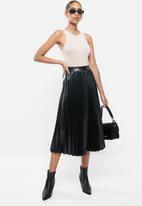 VELVET - Pu sunray pleated a-line midi skirt - black