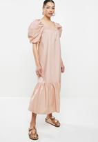 Missguided - Puff sleeve square neck smock midi dress - stone