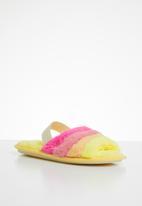 Jada - Rainbow fluffy slipper - yellow & pink