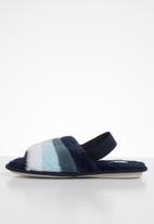 Jada - Rainbow fluffy slipper - navy & blue
