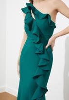 Trendyol - Ruffle detailed evening dress - emerald green