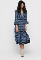 ONLY - Naya athena 3/4 long dress wvn - blue & black