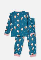 Cotton On - Edith long sleeve pyjama set - teal storm