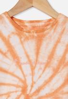 Cotton On - Stevie long sleeve embellished tee - peachy stars tie dye