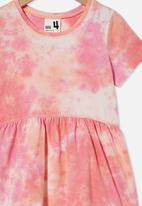 Cotton On - Freya short sleeve dress - musk melon tie dye