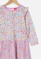 Cotton On - Mackenzie flutter long sleeve nightie - rainbow confetti/ purple paradise