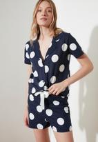Trendyol - Polka dot knitted pajamas set - navy