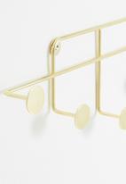 Sixth Floor - Harper wall hook - electroplated gold