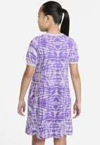 Nike - G nsw aop ss dress   - purple chalk/barely green