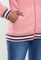 Aca Joe - Polar fleece zip through hoodie - dusty pink