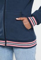 Aca Joe - Polar fleece zip through hoodie- navy
