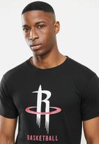 NBA - Rockets icon logo straight hem printed T-shirt - black