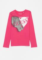 GUESS - Heart guess tri tee - pink