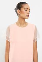 Revenge - Organza sleeves blouse top - pink